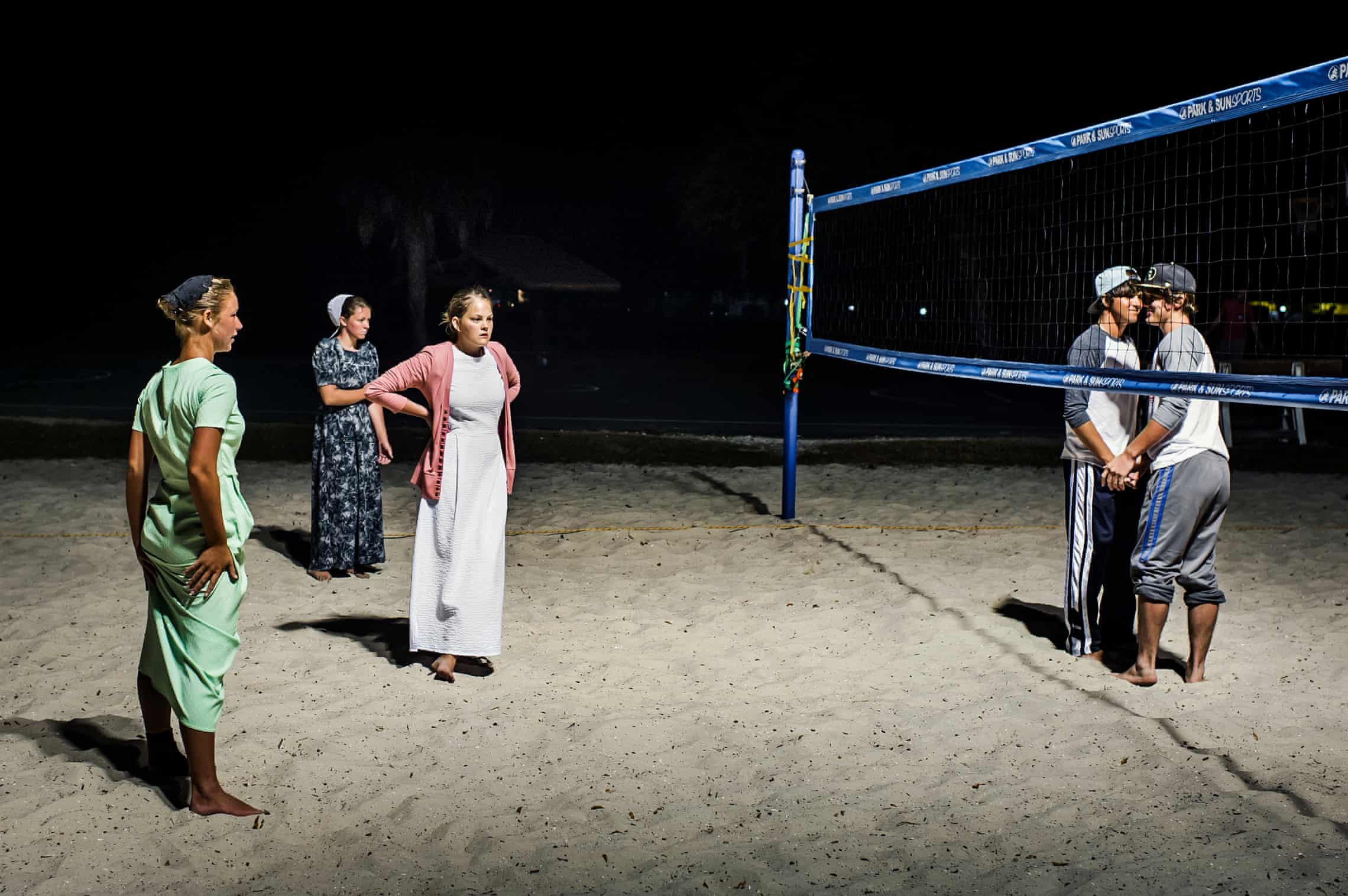 The nightly women's volleyball game is the community's main spectacle.